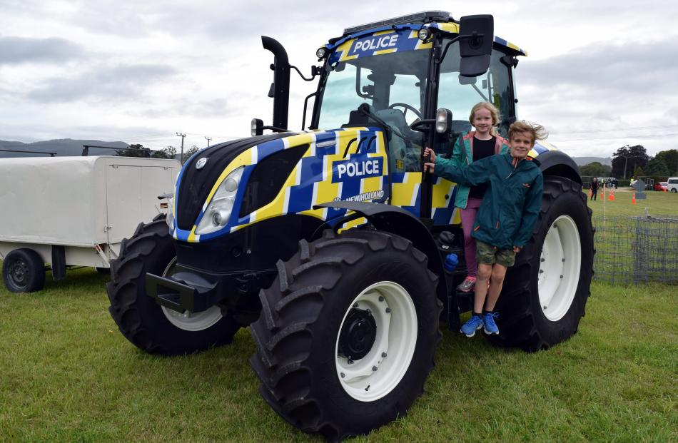 Admiring a police tractor are siblings Jamie (9) and Nina Funnel (7), both of Fairfield.