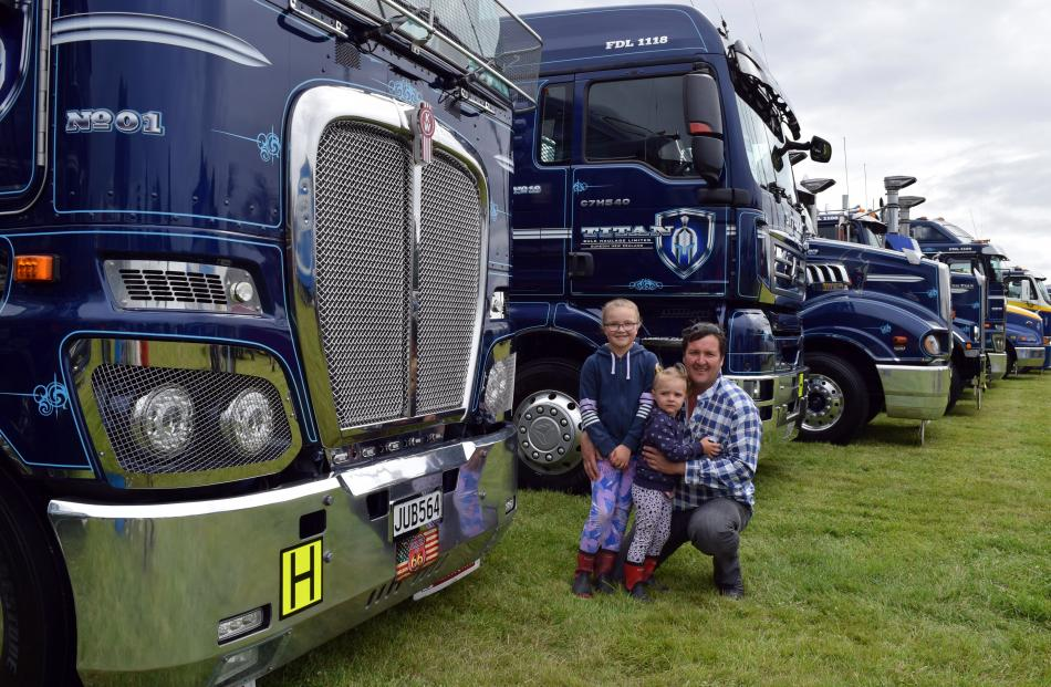 Visiting a truck display at the Otago Taieri A&P Show, in Mosgiel, on Saturday are Mat Kreft and...