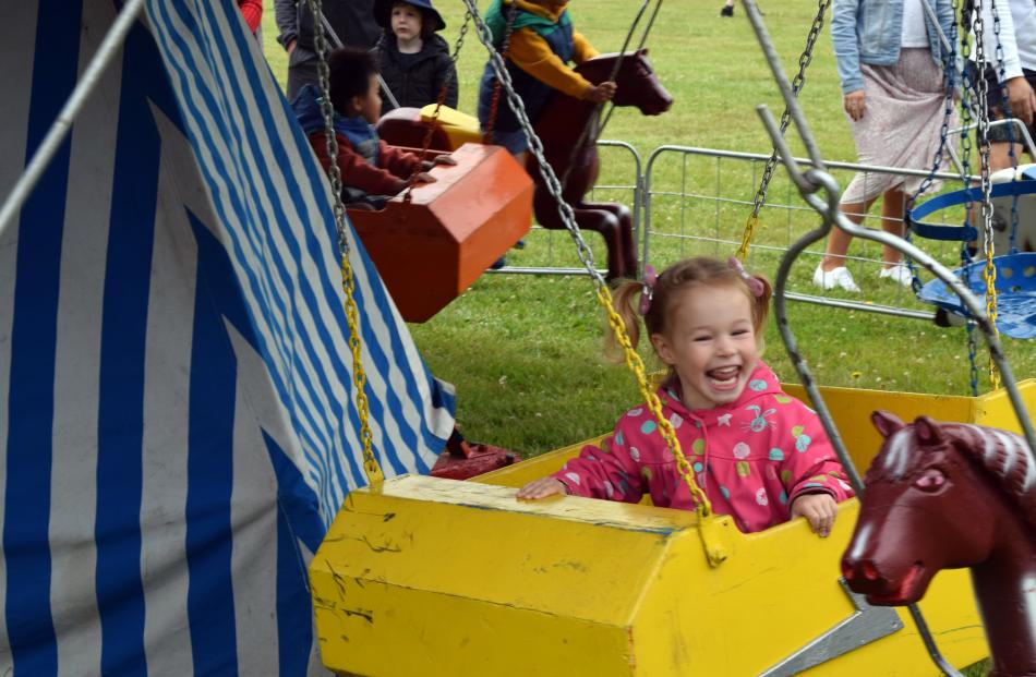 Enjoying a merry-go-round ride is Georgia O'Sullivan (3), of Mosgiel.