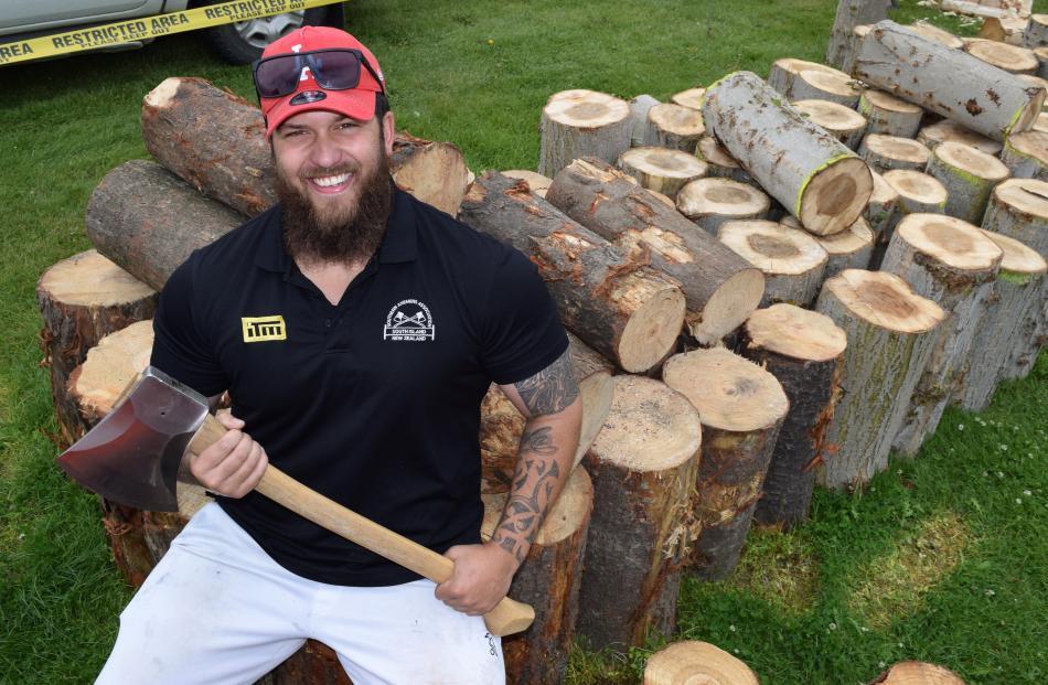 Otago Axeman's Club member Brad Pako, of St Kilda, gets set to compete.
