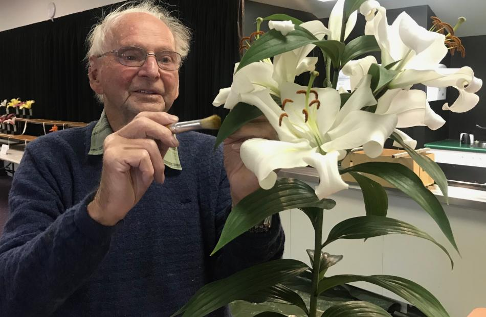 Des Poulson, of Timaru, uses a soft brush to remove pollen as he prepares a lily for exhibition....