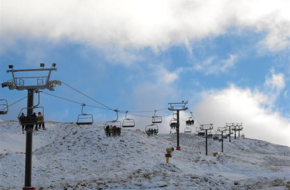 The chairlifts at Coronet Peak were chock-a-block shortly after 9am on Saturday.