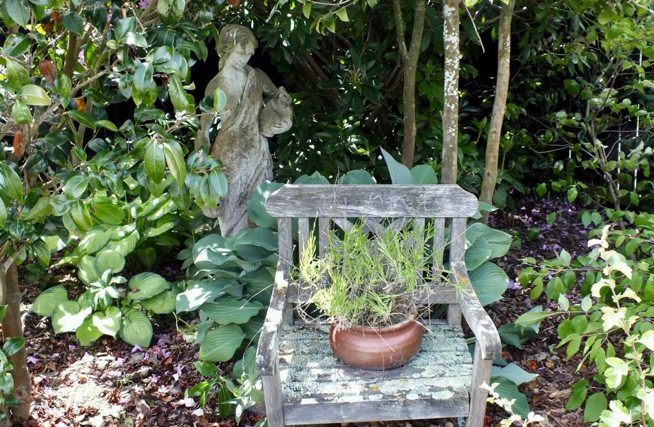 Thelma Hoskin has made good use of an old chair.