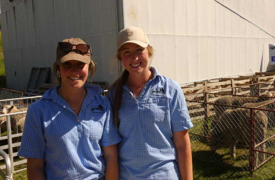 Nicole Dowling (left), of St Bathans, and Tahlia Dean, of Omakau, were on hand during the sheep...