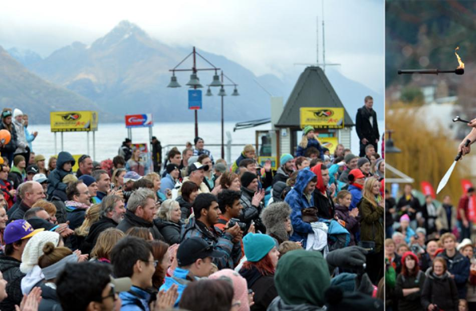 Nathan Bonner of Christchurch performs on the Queenstown waterfront.