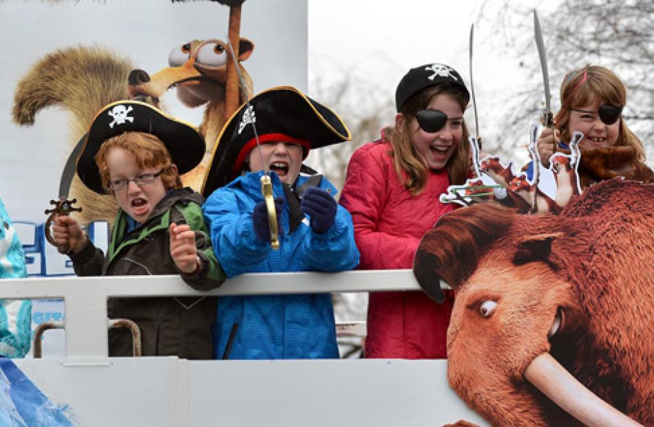 Pirates on the Ice float from left Mary Gavin (9) Todd Vermeir (8), Cameron Kennedy-Brown (8),...