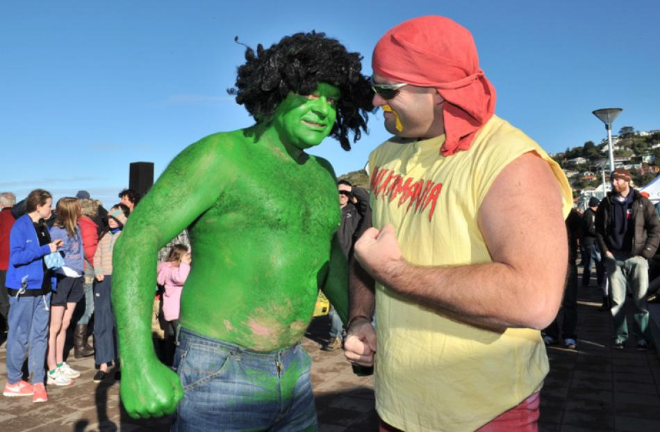 St Clair polar plunge hulks Mike Cowie and Tony McFadgen.