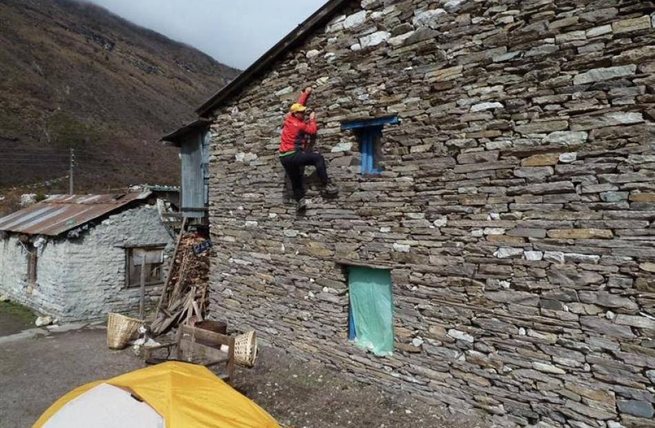 Guy Cotter keeps his climbing skills sharp in a town close to the Manaslu base camp called...