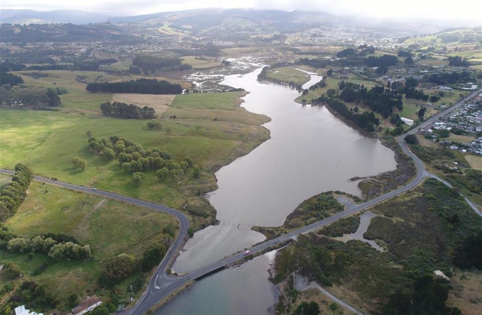 The Kaikorai estuary where it heads to sea under the Brighton road. PHOTOS: STEPHEN JAQUIERY...