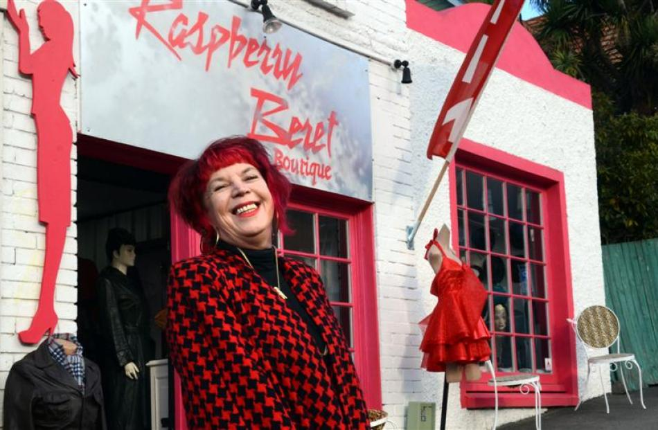 Debbie Gilhooley outside her  Raspberry Beret Boutique in London St, Dunedin. Photo by Emily Cannan.