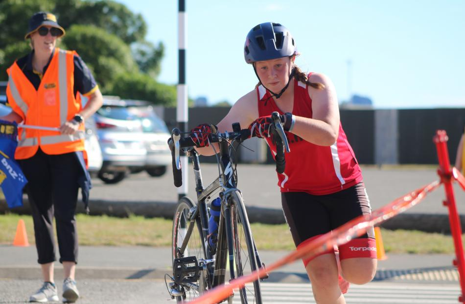 Oamaru's Breana Kingan rushes her bike in. PHOTOS: KAYLA HODGE