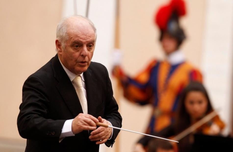 Argentinian director Daniel Barenboim directs a concert offered to Pope Benedict XVI by the West...