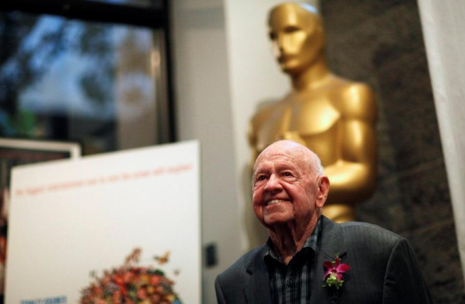 Cast member Mickey Rooney poses at a screening of 'It's a Mad Mad Mad Mad World' to kick off The...
