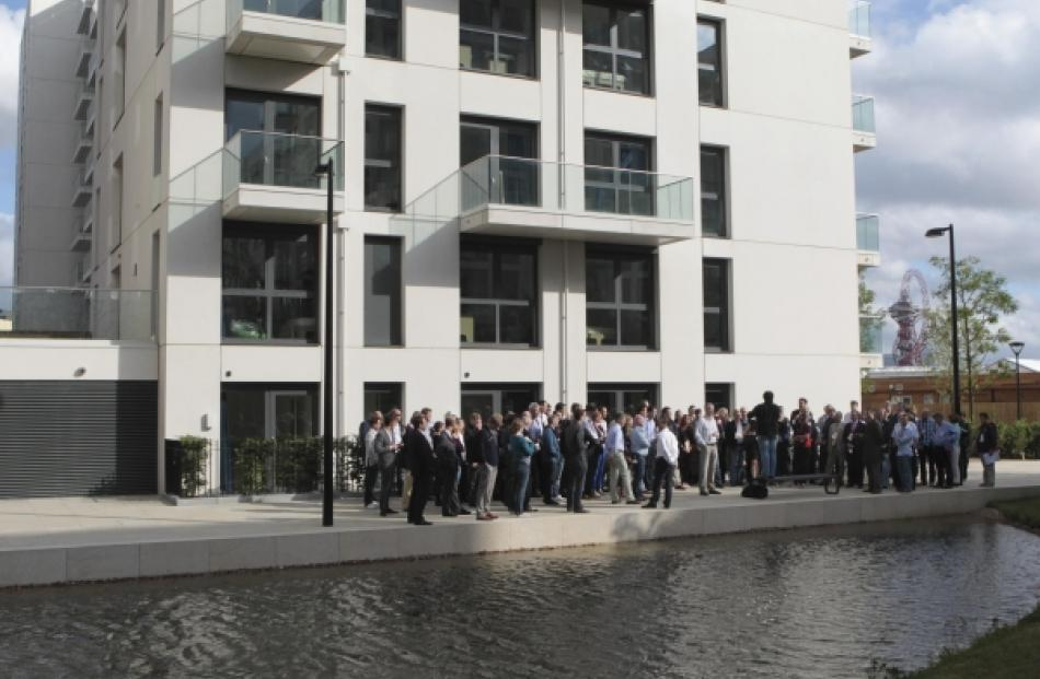 Visitors are shown around the wetlands area of the Olympic Village  built for the London  2012...
