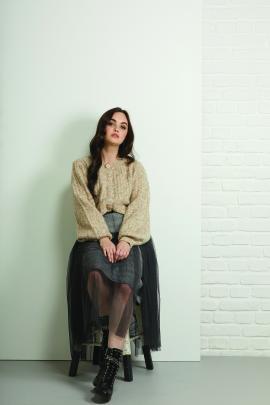 Siren Cardigan, $139 and Skirt $169, Longbeach.