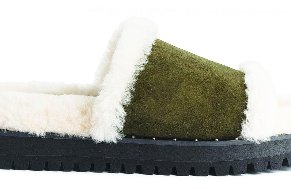 Plush Slipper in Olive Suede, $200, Mi Piaci at the Meridian Mall.