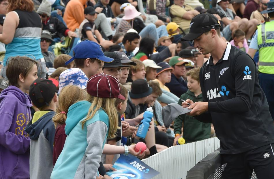 Black Cap Will Young got plenty of attention from young fans at the University Oval.