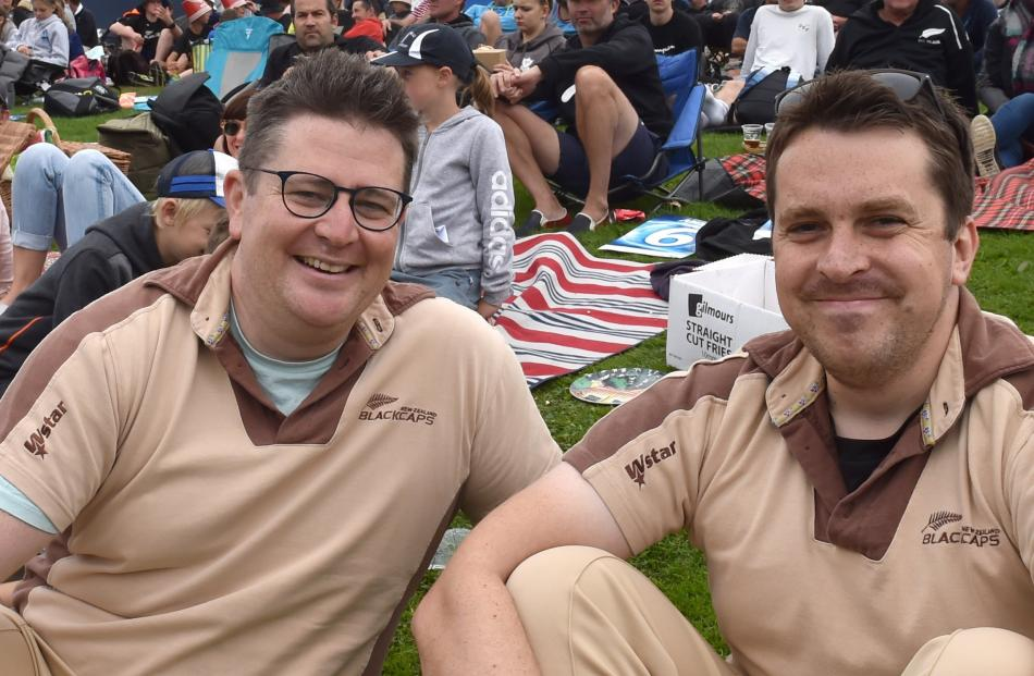 Rory O'Sullivan (left) and James Ravenscroft, both of Auckland, were all smiles as the Black Caps...