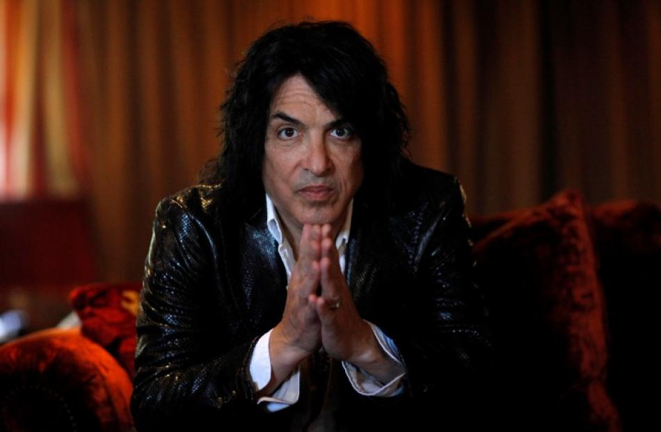 Paul Stanley, lead vocalist of Kiss, poses for a portrait at his home in Beverly Hills,...