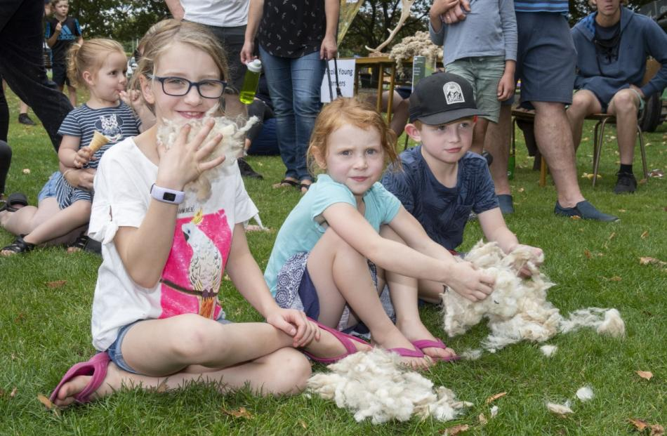 Mather siblings Emelia, left, 9, Tom, 7, and Izabela, 4, at the sheep shearing demonstration.
