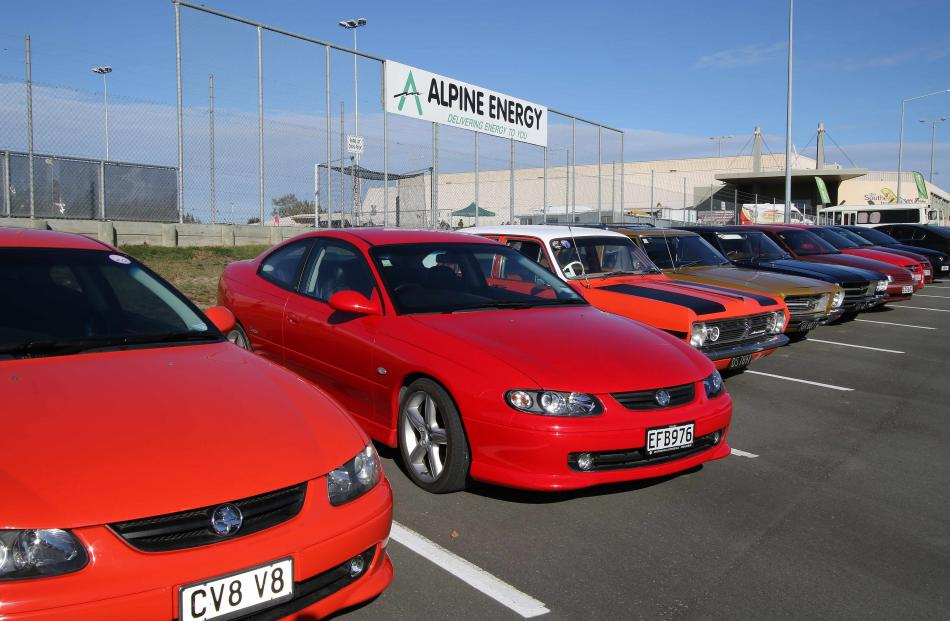 Some of the hundreds of Holdens in the public car park at the Southern Trusts Event Centre,...