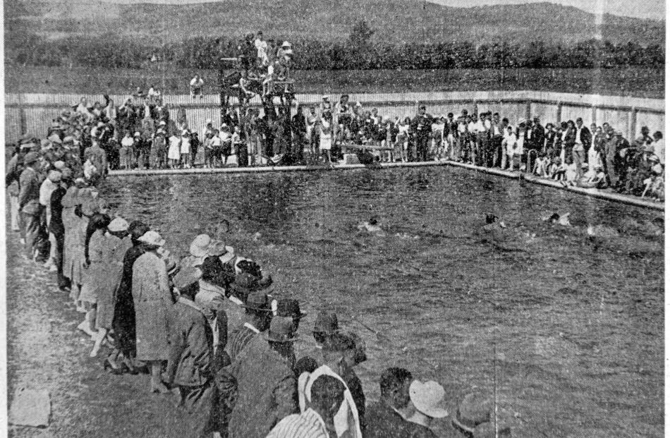 Crowds attend the opening day of the Taieri Swimming Club's new baths in December 1937. PHOTO:...