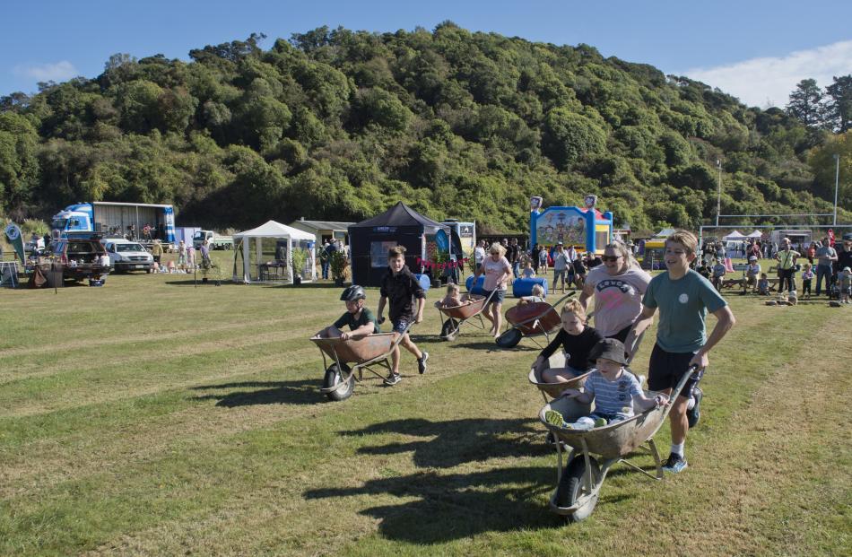 Wheelbarrow racing was popular with families.
