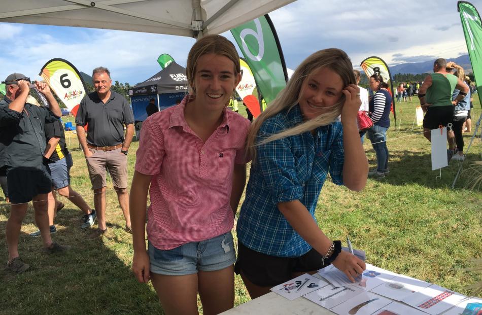 Christchurch Girls' High School pupils Erin Humm (16, left) and Amelia Ridgen (16) test their...