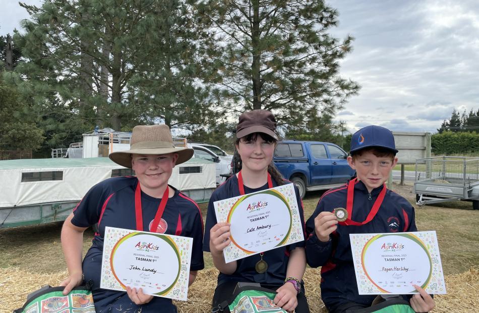 North Loburn School's ''Karetu Kids'' team of John Lundy (left), Cate Ambury and Ryan Herlihy...