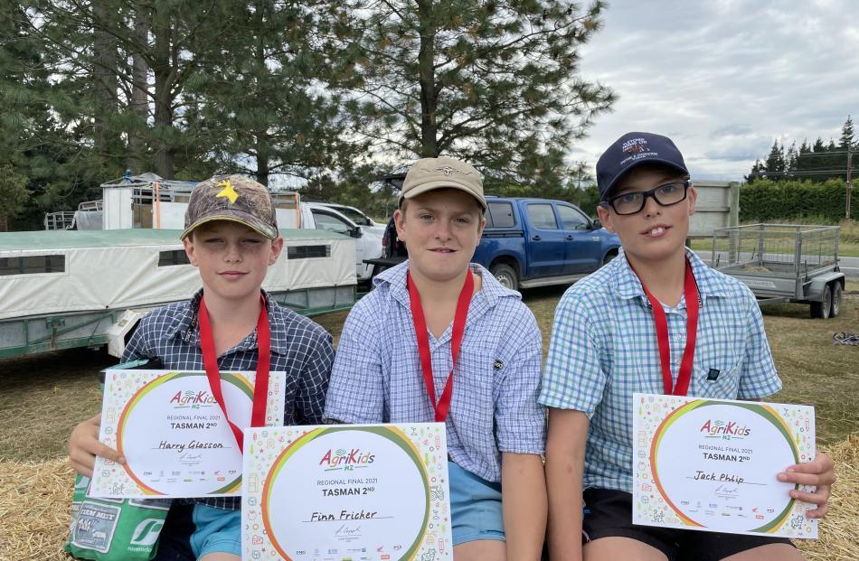 Waikari School's ''Kool Keas'' team of Harry Glasson (left), Finn Fricker and Jack Philp placed...