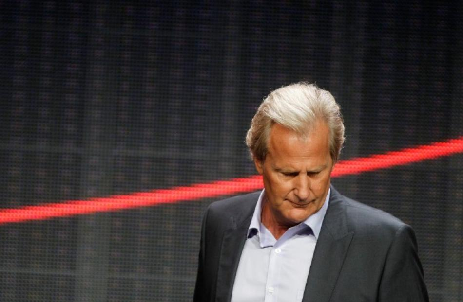 Jeff Daniels, star of 'The Newsroom', glances down as he takes the stage during the Television...