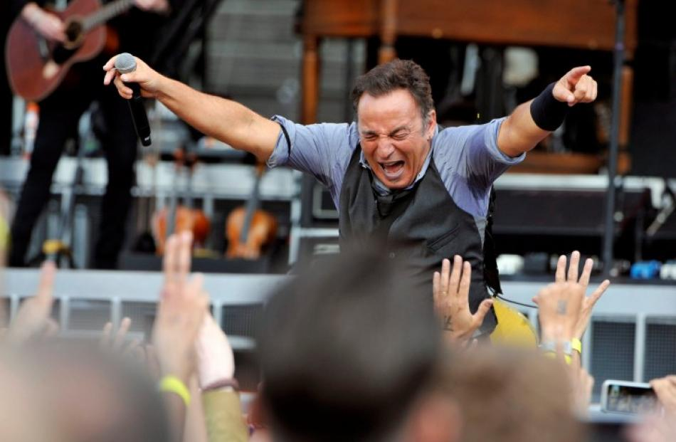US musician Bruce Springsteen performs at the Olympic stadium in Helsinki. REUTERS/Viena Kytojoki...