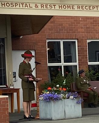 Colonel Kate Lee gives the Anzac Address at Montecillo. PHOTO: BRENDA HARWOOD