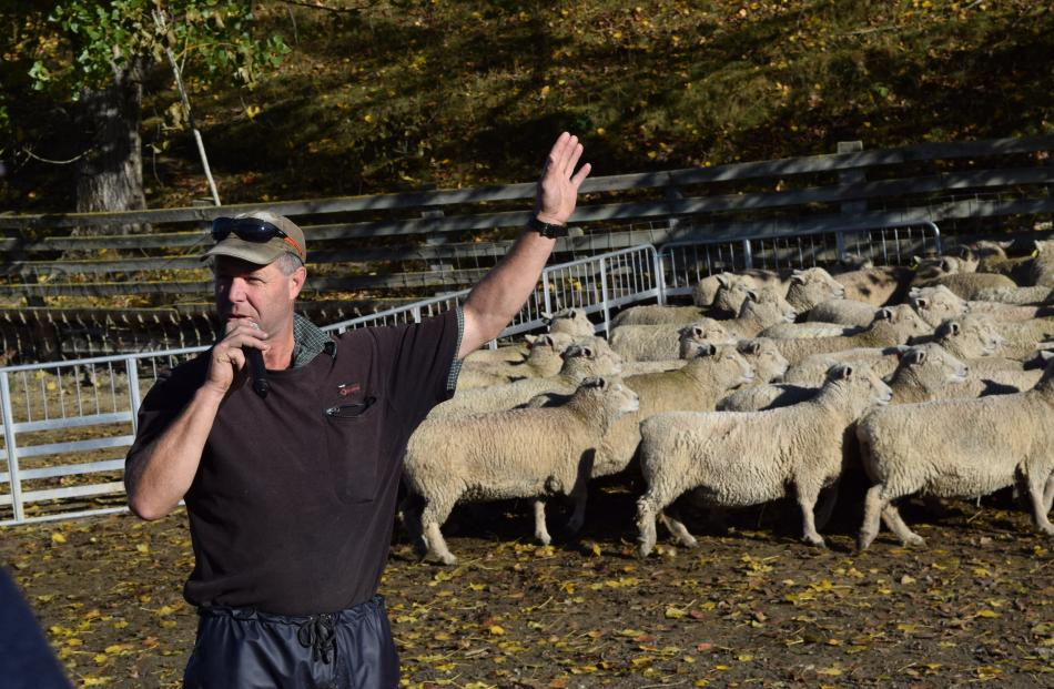 Riverside stud owner Don Murray, of Waitahuna, speaks about his farm on a stop of the Southdown...