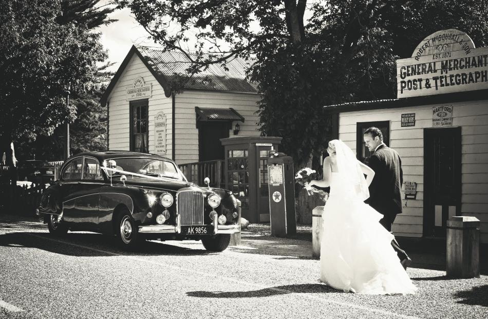 Julia and Geoff Hunt at their wedding at Cardrona Hotel last December. LISA DAVIDSON PHOTOGRAPHY.
