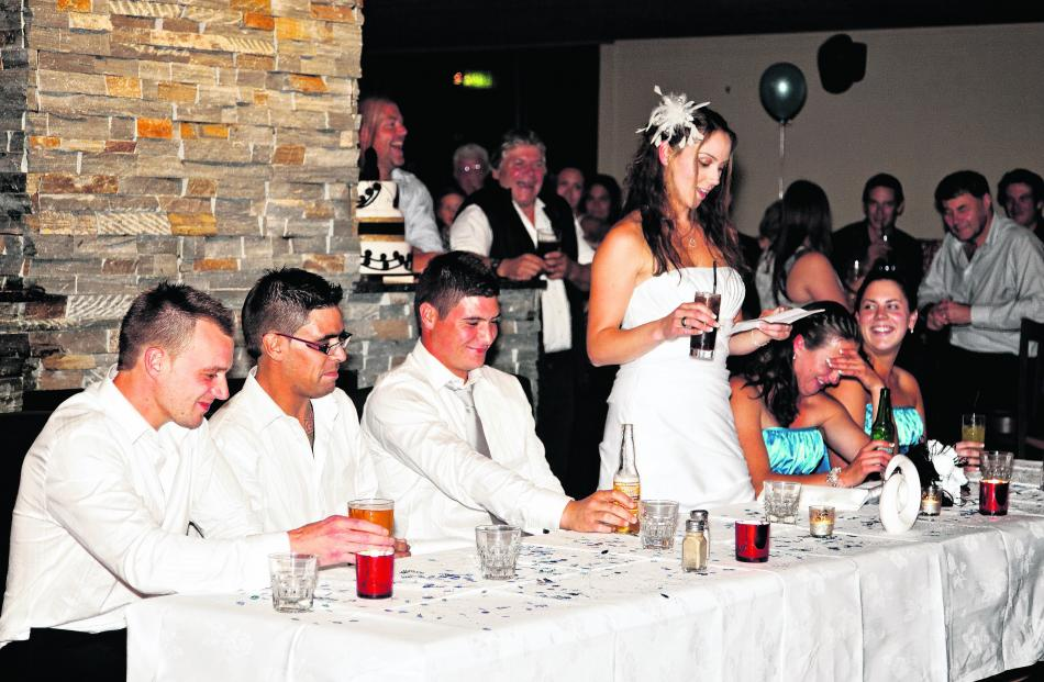 Centre stage at their reception at Wanaka Ale House is bride Tammy Russell, who married Leon...