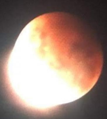 The super blood moon as seen from Kaitangata. Photo: Kieran Douglas