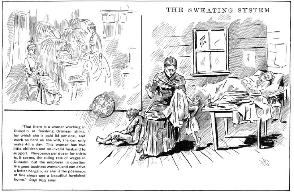 This cartoon contrasting a woman doing sweated labour with her wealthy employer was based on an...