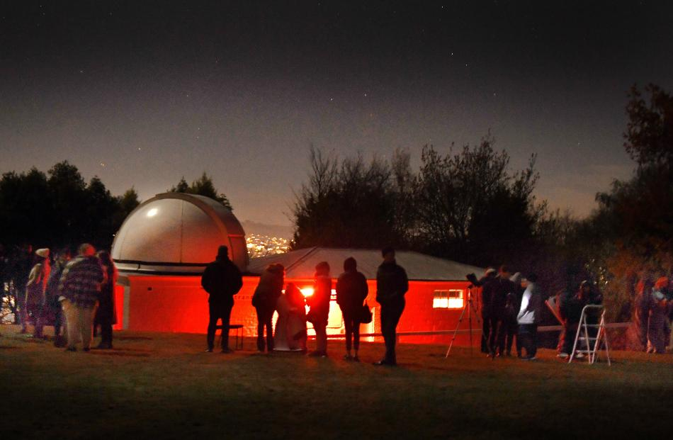Super blood moon watching proved popular at Beverly-Begg Observatory, in Dunedin, on Wednesday...