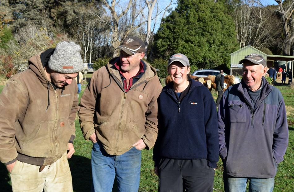 Sharing a joke are (from left) Jackson Reid, of Outram, Dan Nichol, Rachel Beattie, both of...