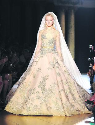 A haute-couture wedding gown by Elie Saab, shown in Paris last month. GETTY IMAGES