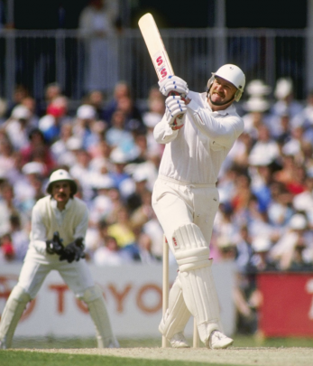 Mark Greatbatch lifts the ball over midwicket during his test debut. Photo: Getty Images