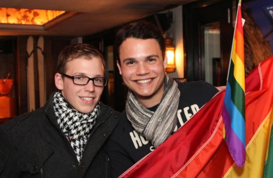 Matthew Christensen (left)  and Luciano Bazoni  at the opening party for the 2012 Gay Ski Week at...