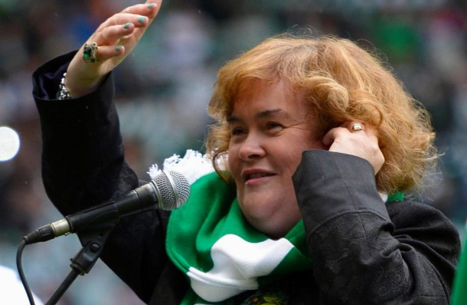Susan Boyle sings 'You'll never walk alone' before the Champions League football match between...