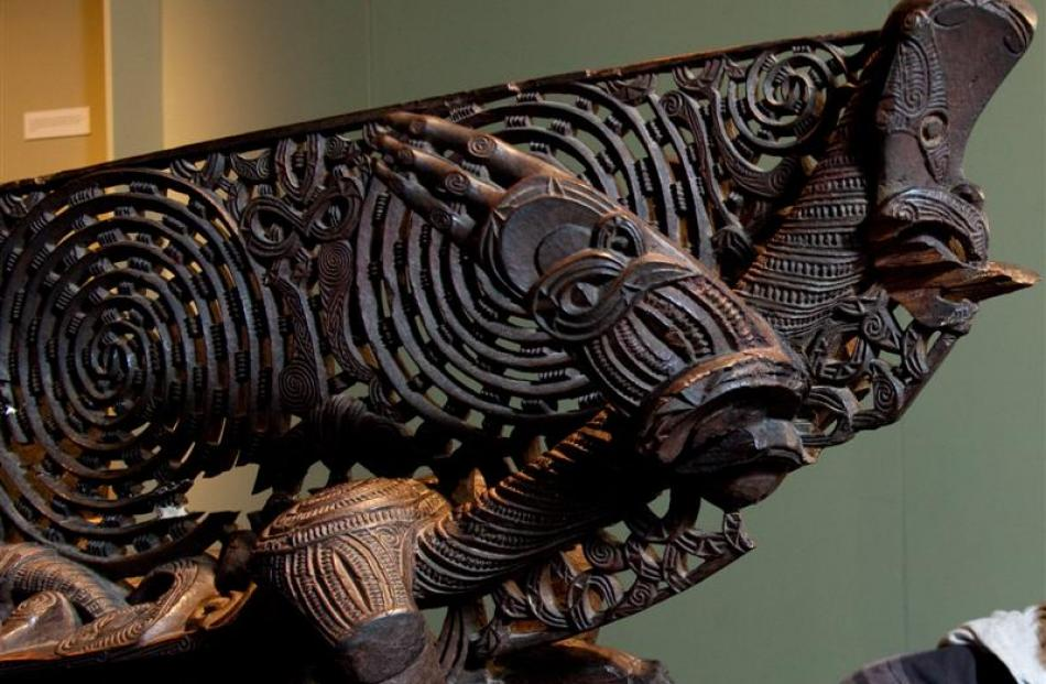 The intricately carved prow of a Maori waka taua (war canoe) at the museum. Photos by ODT/supplied.