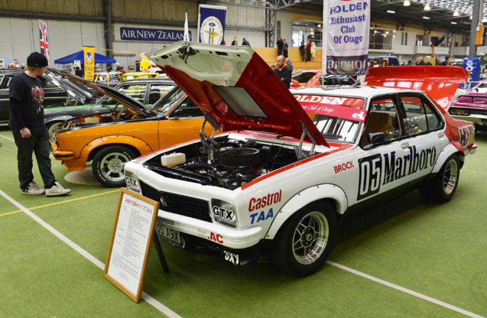 A replica Peter Brock Holden Torana is open for inspection for car enthusiasts.