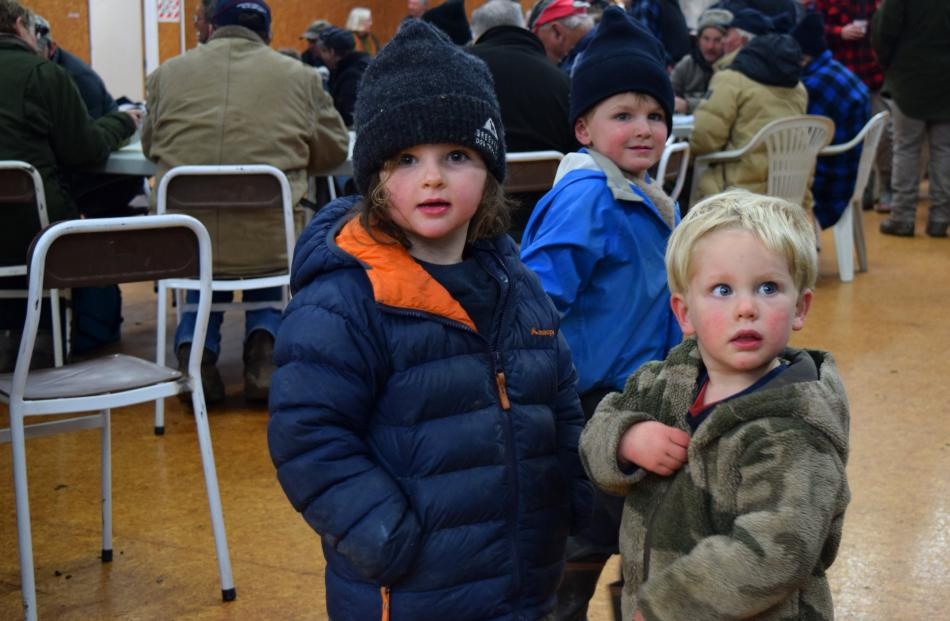 Annabelle Bould, plays with her cousins Harry (middle, both 3) and Jack (2) Stewart, all of West...