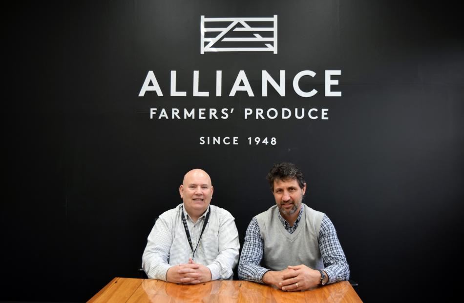 Alliance Group Pukeuri plant manager Phil Shuker (left) and musculoskeletal injury prevention...