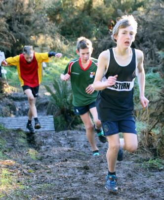 St Peter's College pupil Max McGregor, who won the 12-year-old boys race, leads the way at the...