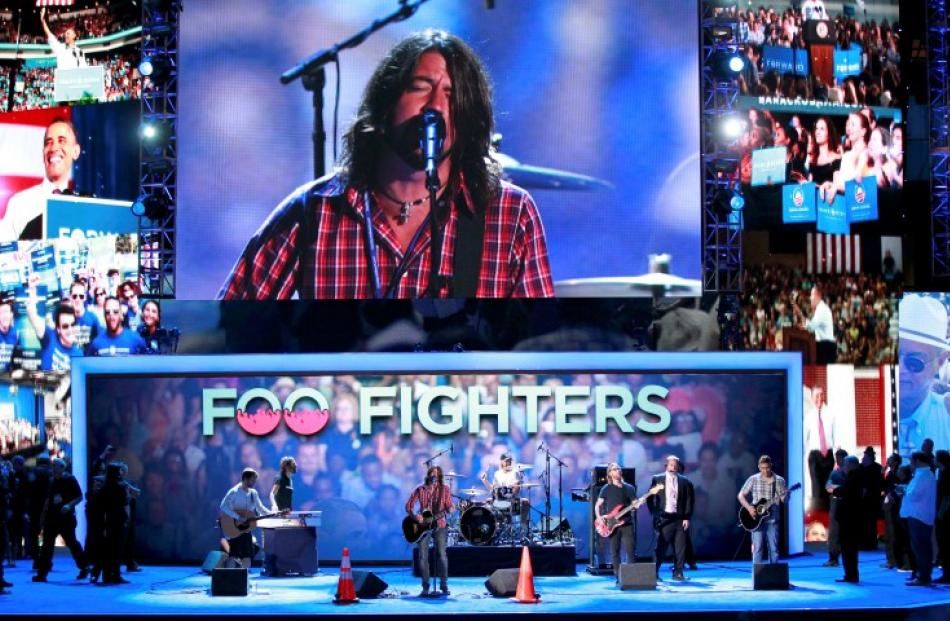 The Foo Fighters perform during a sound check prior to the final session of the Democratic...